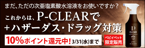 \10%ポイント還元!/【P-CLEAR】ペピイベット限定販売!新時代の次亜塩素酸製品!!